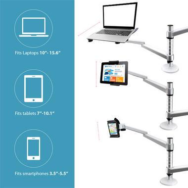 Pyle PLPPADMT20 Dual Laptop & Tablet Holder Stand Swivel, Tilt & Rotation Thumbnail 4