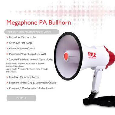 Pyle Pro Megaphone & Strap Mega Phone 30w Pistol Grip Loud Speaker And Siren NEW Thumbnail 3