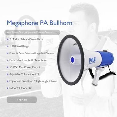 Pyle Pro Megaphone & Strap Mega Phone 50w Pistol Grip Loud Speaker And Siren NEW Thumbnail 3