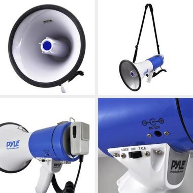 Pyle Pro Megaphone & Strap Mega Phone 50w Pistol Grip Loud Speaker And Siren NEW Thumbnail 6