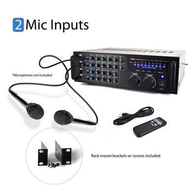 Pyle PMXAKB1000 Bluetooth 1000-Watt Karaoke Mixer with Two Microphone Inputs, RCA Audio/Video and Rack Mountable Thumbnail 3