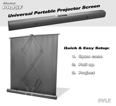 Pyle PRJSF1009 100 Inch Free Standing Portable Roll-Up Pull-Out Projector Screen Thumbnail 3