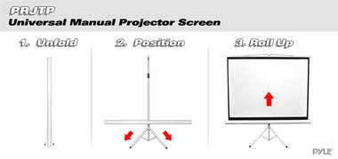 "PRJTP72 72"" Floor Standing Portable Fold-Out Roll-Up Tripod Projector Screen Thumbnail 3"