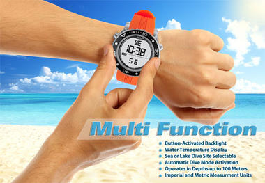 Pyle PSNKW30GN Snorkeling Swimming Sports Diving Watch Depth Temp Meter Thumbnail 6