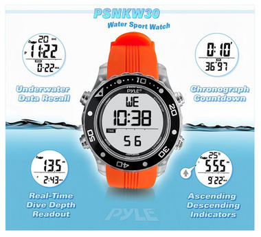 Pyle PSNKW30O Snorkeling Master W/Time-Date Dive Duration-Depth Temp Records Thumbnail 5