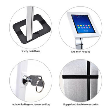 Pyle Anti-Theft iPad/Tablet Kiosk Public Display Floor Stand (Works with iPad Generations 1/2/3/4 and iPad Air) Thumbnail 4