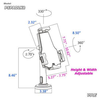 Pyle PSPADLK8 Universal Tamper-Proof Anti-Theft iPad Tablet Kiosk Stand Holder Thumbnail 3