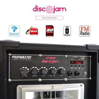 "Pyle PSUFM837BT Pair of 800W 8"" Bluetooth Speakers USB/AUX FM Flashing Light Thumbnail 3"