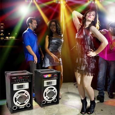 "Pyle PSUFM837BT Pair of 800W 8"" Bluetooth Speakers USB/AUX FM Flashing Light Thumbnail 7"