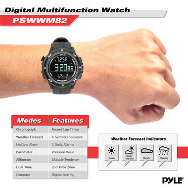 Pyle PSWWM82BK Digital Sports Watch Altimeter Barometer Chronograph Compass Thumbnail 3