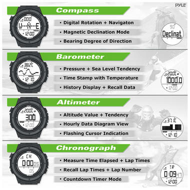 Pyle PSWWM82GN Sports Hiking Watch Altimeter Barometer Chronograph Compass Thumbnail 4