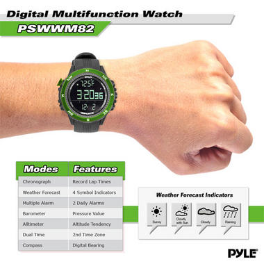 Pyle PSWWM82GN Sports Hiking Watch Altimeter Barometer Chronograph Compass Thumbnail 3