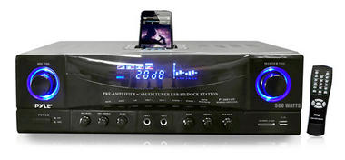 Pyle Home PT4601AIU 500w 2 Channel Amplifier Tuner USB SD Card iPod Dock MP3 Thumbnail 1