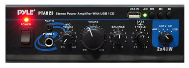 PyleHome PTAU23 Mini 2x 40W Stereo Power Amplifier with USB, AUX, CD and Mic Input Thumbnail 3