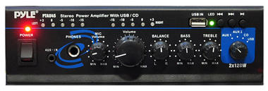 PyleHome PTAU45 2x 120W Stereo Power Amplifier with USB, AUX, CD and Mic Input Thumbnail 3