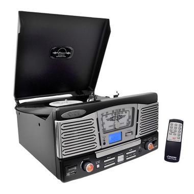 PyleHome PTCD8UB Retro Style Turntable with CD/Radio/USB/SD/MP3/WMA Vinyl Thumbnail 1