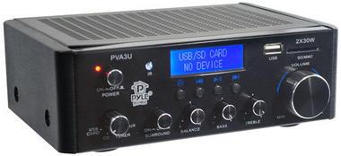 Pyle PVA3U 60W Stereo Hi-Fi Mini iPod Amplifier USB SD MP3 Player Receiver Thumbnail 3