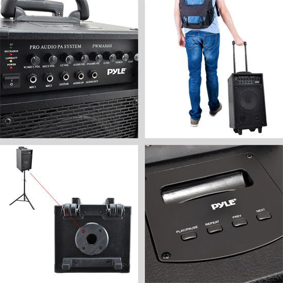 Pyle 500w Amplified Wireless Wired Microphone PA System Speaker & Ipod Dock Thumbnail 8
