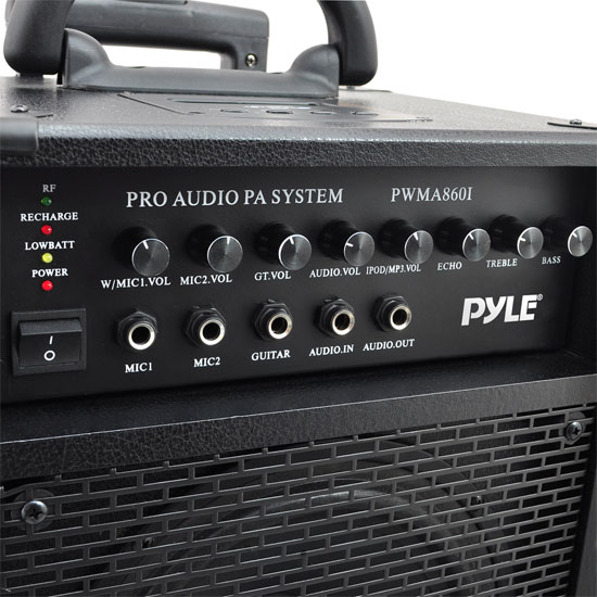 Pyle 500w Amplified Wireless Wired Microphone PA System Speaker & Ipod Dock Thumbnail 7