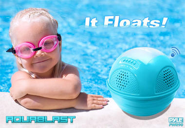 Pylehome PWR90DBK Aqua Blast Bluetooth Floating Pool Speaker System Black OUTER BOX WATER DAMAGED  Thumbnail 3