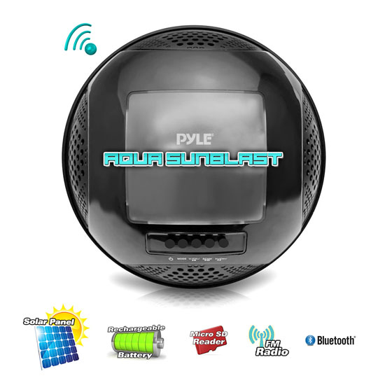 Pyle PWR95SBK Floating Bluetooth Waterproof Pool Speaker System SD AUX Solar Charge Thumbnail 6