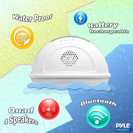 Pyle PWR95SBK Floating Bluetooth Waterproof Pool Speaker System SD AUX Solar Charge Thumbnail 4