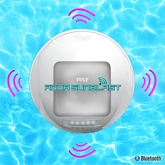 Pyle PWR95SBK Floating Bluetooth Waterproof Pool Speaker System SD AUX Solar Charge Thumbnail 5