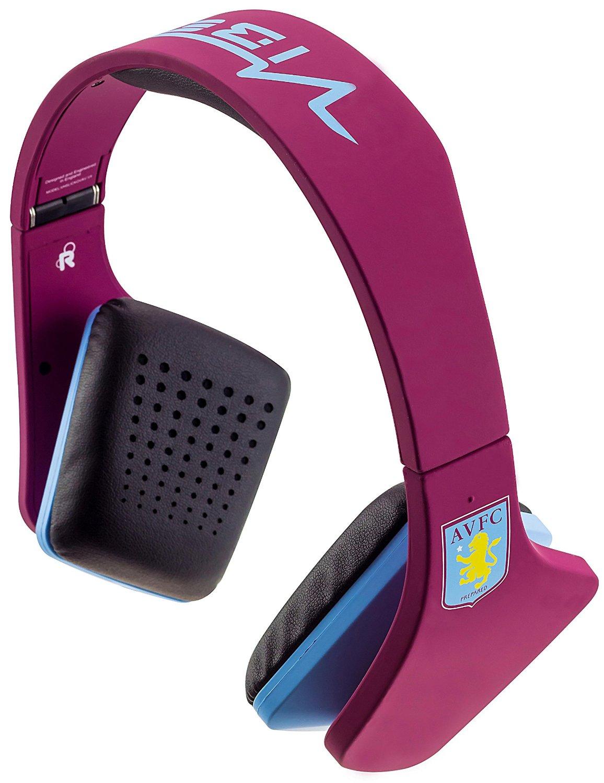 AVFC Aston Villa FC Official VIBE Over Ear Headphones Enchanced Sound Quality