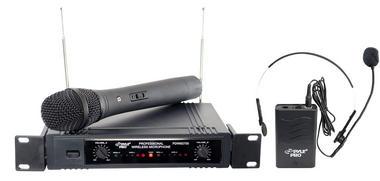Pyle Dual Twin VHF DJ Party Karaoke Wireless Handheld Headset Microphone System Thumbnail 2