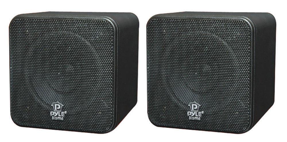 Pyle Home Theatre Cinema Surround Sound Mini Box Cube Satellite Speakers 8Ohm