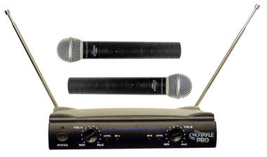 Pyle Pro Dual Twin VHF DJ Party Karaoke Wireless Handheld Microphone System Thumbnail 2