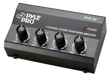 Pyle Pro Music DJ 4 Channel Compact Stereo Headphone Amplifier Distribution Amp Thumbnail 2