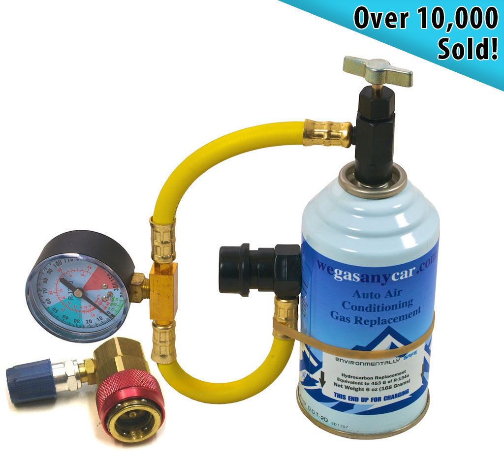 Car Aircon Top up Gas Recharge Refill Regas DIY Kit + High/Low Side Port Adaptor