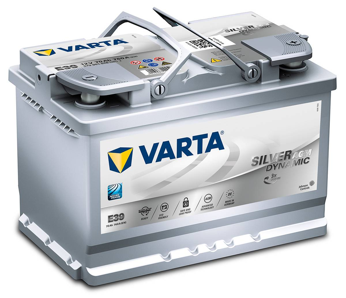Varta E39 Heavy Duty 12 Volt 096 70Ah 760CCA AGM 4 Year Audi BMW VW Toyato Car Battery