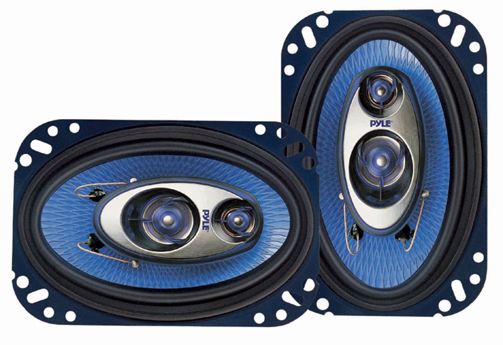 "Pair Of Pyle Blue 4x6"" Two Way Coaxial Car Door Speakers System 480w VW Porsche"