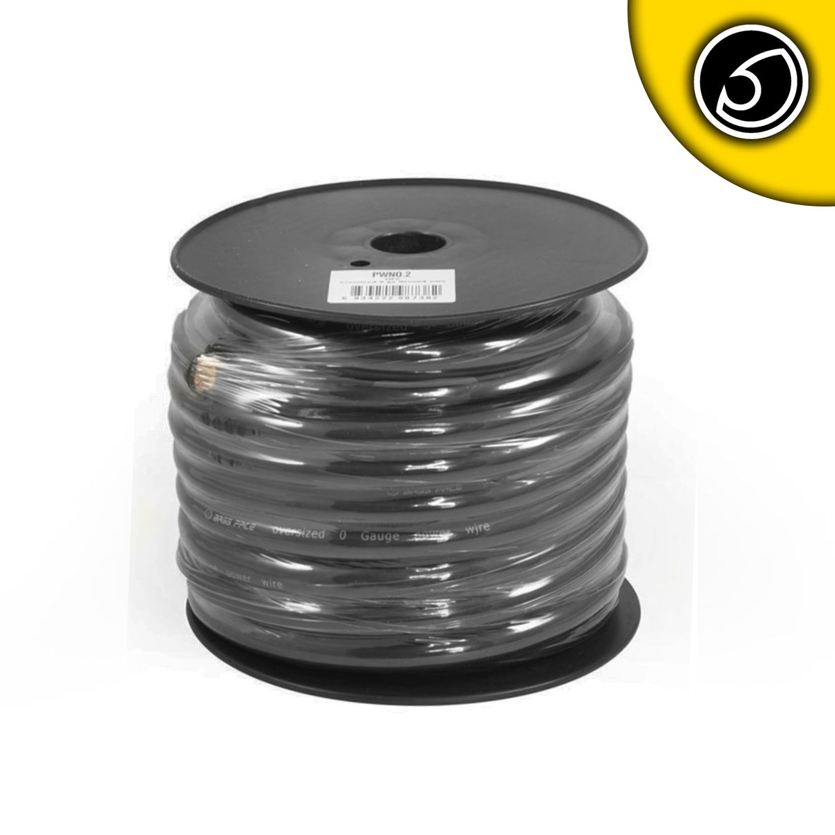 Bassface PWN0.2 OFC 0AWG 53mm Black Negative Wire Cable Spool 15m 5250 Strand