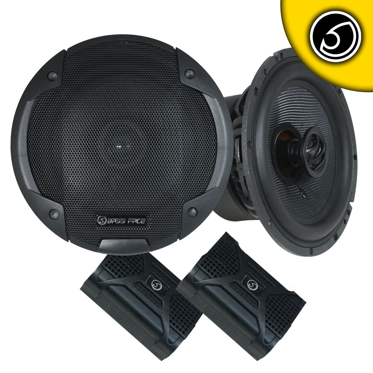 "Bassface BLACKSPL6.1 740w 6.5"" Inch 17cm SQ Coaxial 2Way Car Door Speakers Pair"