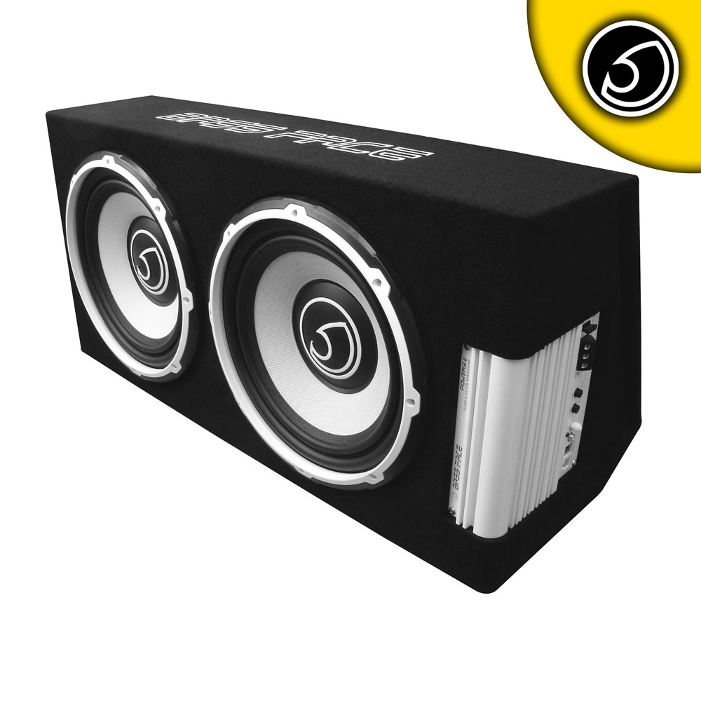 "Bassface POWER12.2 1300w Twin 12"" Active Car Sub Amp Amplifier Powered Bass Box"