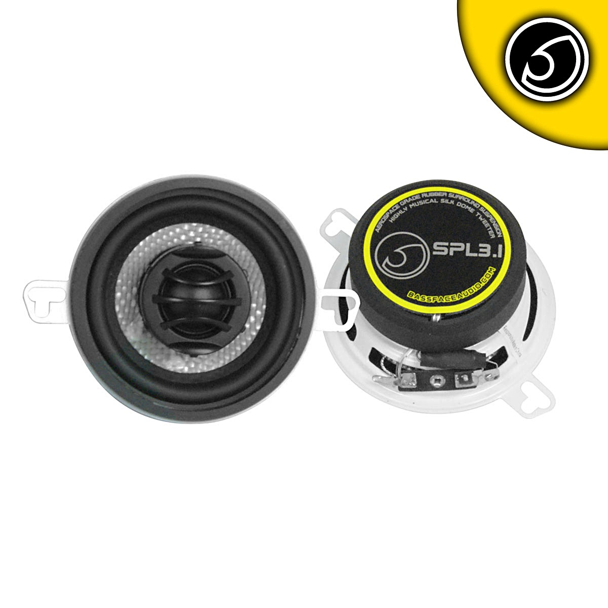 "Bassface SPL3.1 200w 3.5"" Inch 8cm Coaxial 2Way Car Door Dashboard Speakers Pair"
