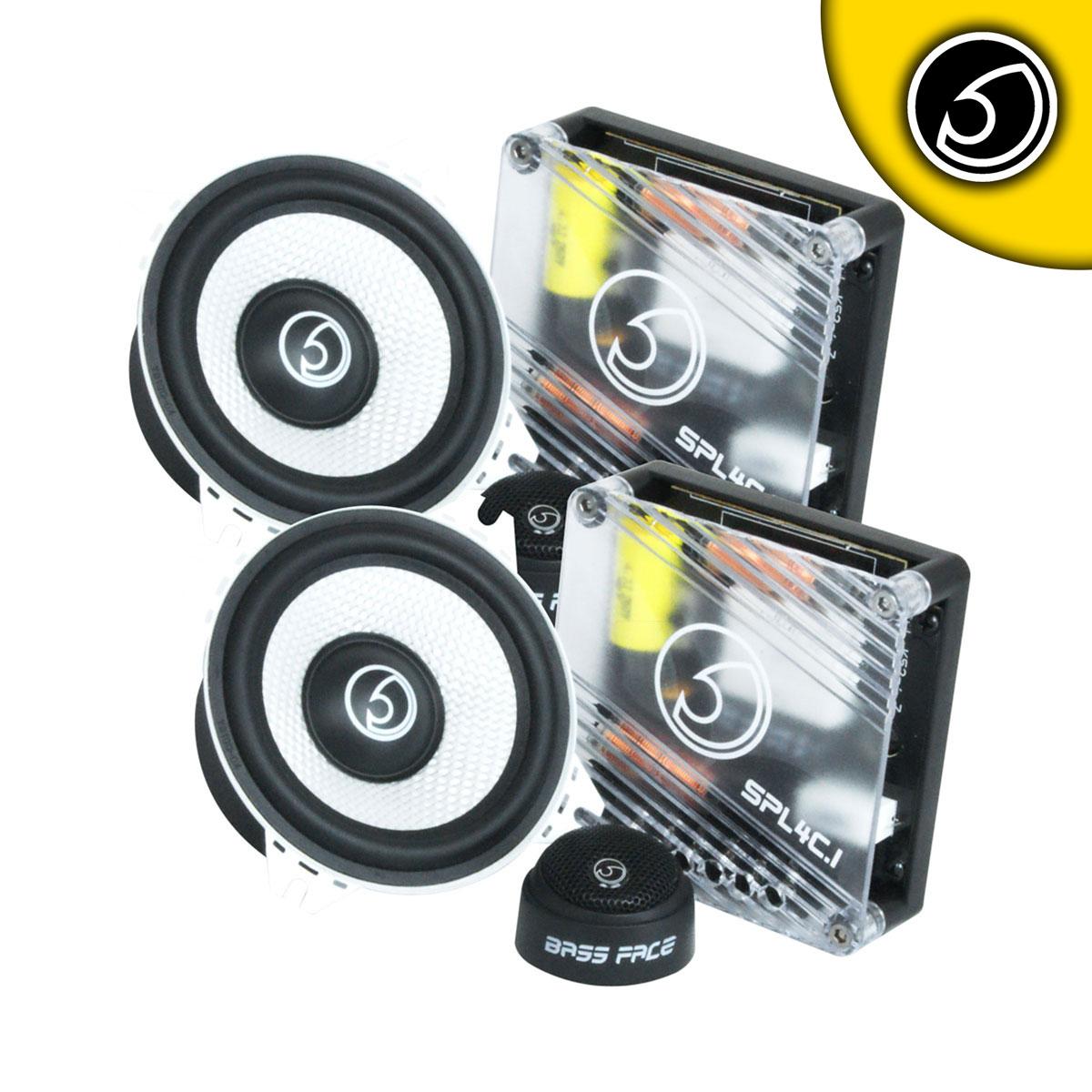 """Bassface SPL4C.1 600w 4"""" Inch 10cm Car Door Dash Component Speaker & Tweeter Kit"""