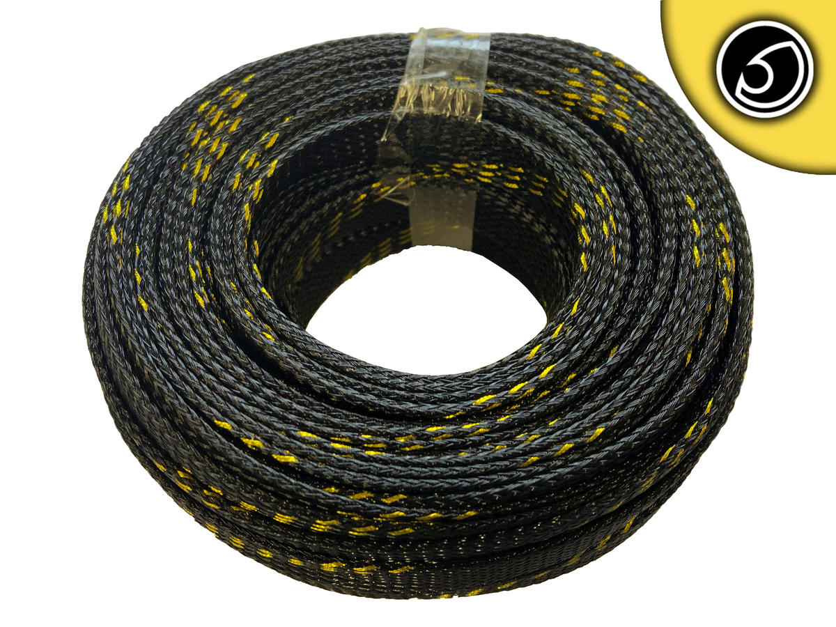 Bassface SLBG.15 15mm Braided Cable Sleeve Black With Gold Stripe 20m Pack