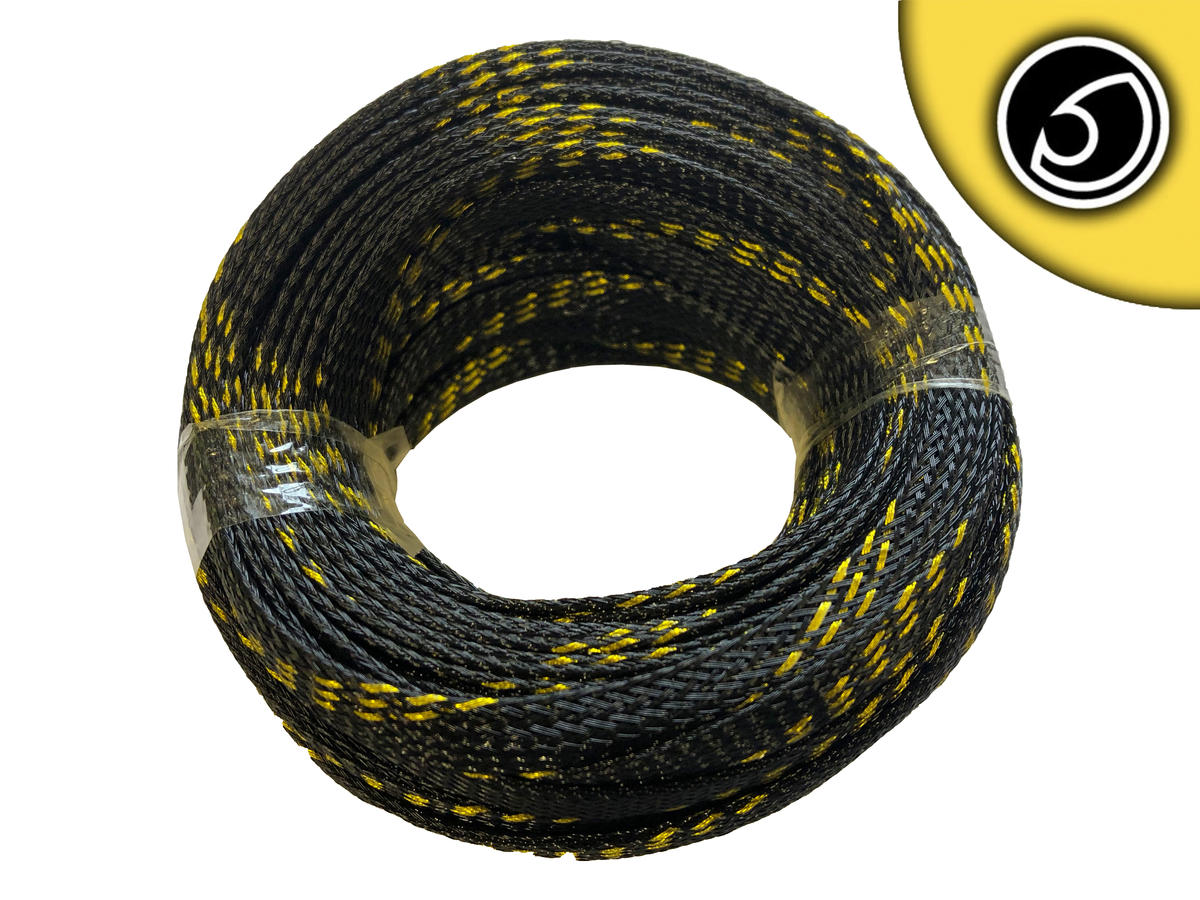 Bassface SLBG.8 8mm Braided Cable Sleeve Black With Gold Stripe 20m Pack