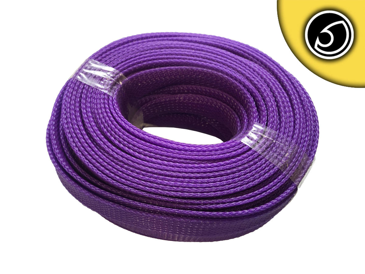 Bassface SLV.15 15mm Braided Cable Sleeve Solid Violet 20m Pack