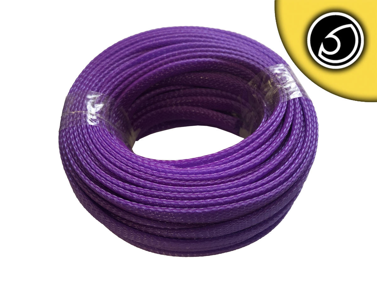 Bassface SLV.8 8mm Braided Cable Sleeve Solid Violet 20m Pack