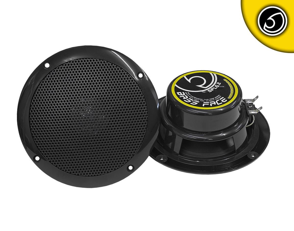 "Bassface SPL5.2B 250w 5.25"" Inch 13cm Waterproof Marine Boat Speaker Pair Black"