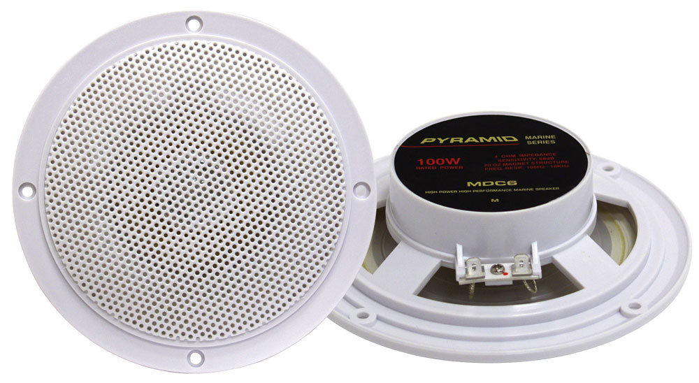 "Pyramid MDC6 5.25"" Marine 100w Dual Cone WaterProof Boat Patio Stereo Speakers"