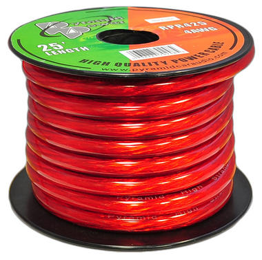 Pyramid RPR425 4 Gauge Clear Red Power Wire 25 ft. OFC Thumbnail 2
