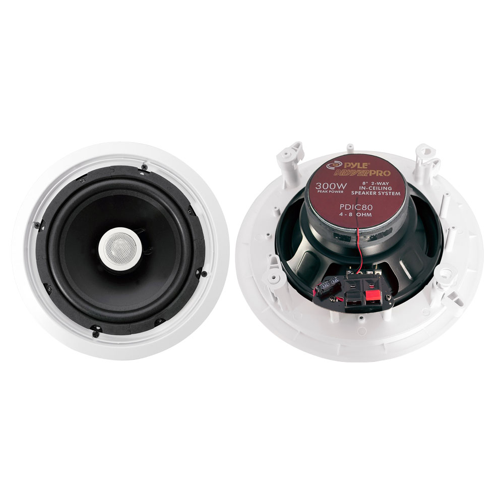 """Pyle Home 8"""" Pair Of 2-Way In Ceiling Wall HiFi Speakers Flush Mount White"""