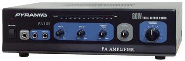 Pyramid PA105 80 Watt Microphone AC & DC 12v PA Amplifier 70V & Mic Talkover Thumbnail 2