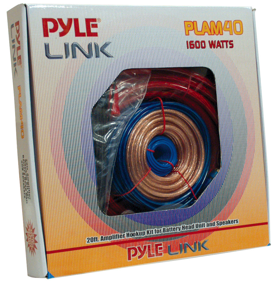 Pyle PLAM40 60A 4 Gauge AWG Power & Earth Amplifier Wiring Kit Set With 5m RCA